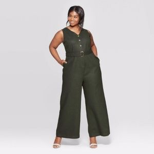 WHO WHAT WEAR | Green Linen Based Jumpsuit - XS